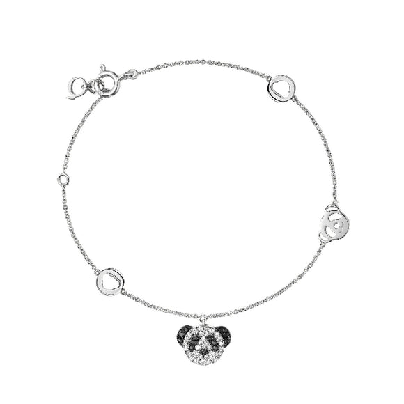 Seven Season Adorable Panda Diamond Accent Chain Bracelet