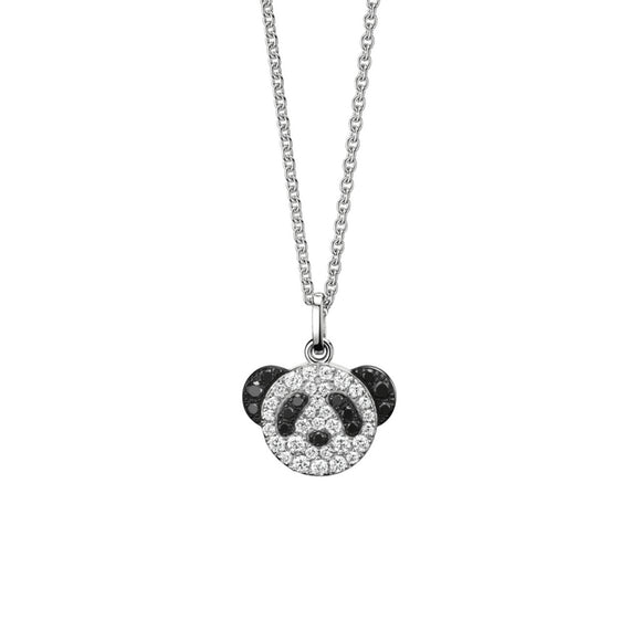 Seven Season Adorable Panda Diamond Accent Pendant Necklace