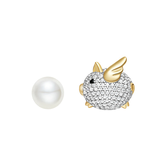 Seven Season Adorable Piggy Shell Pearl Mismatched Stud Earrings HEFANG Jewelry
