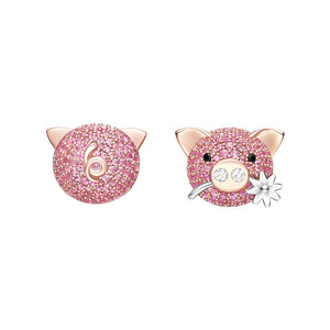 Seven Season Adorable Piggy Sweet Piggy Mismatched Stud Earrings HEFANG Jewelry