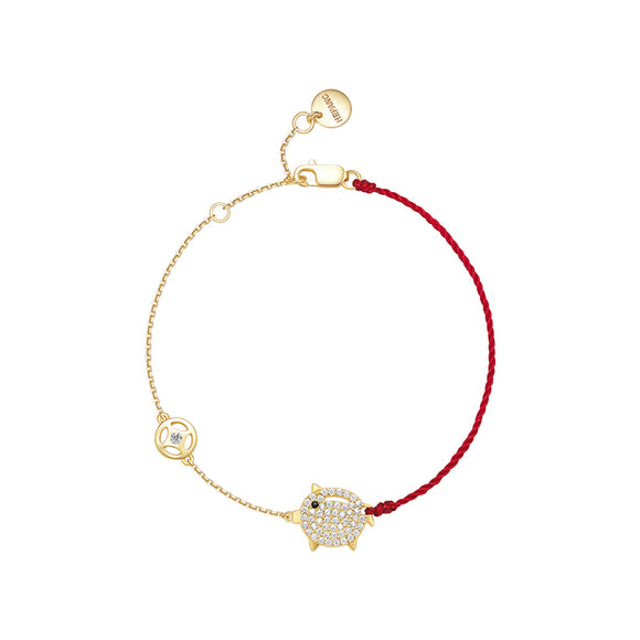 Seven Season Adorable Piggy and Coin Chain Bracelet HEFANG Jewelry