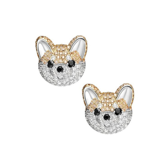 Seven Season Adorable Puppy Akita Stud Earrings HEFANG Jewelry