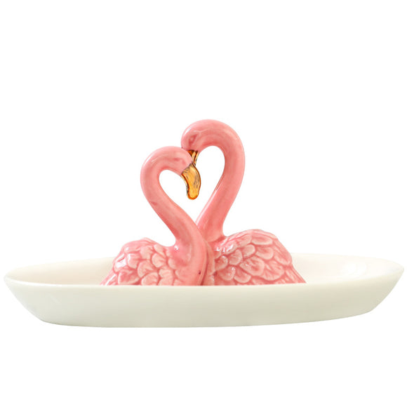 Seven Season Betidy Kissing Flamingos Ceramic Jewelry Plate