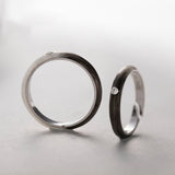 Seven Season Black to White Silver Couple Rings