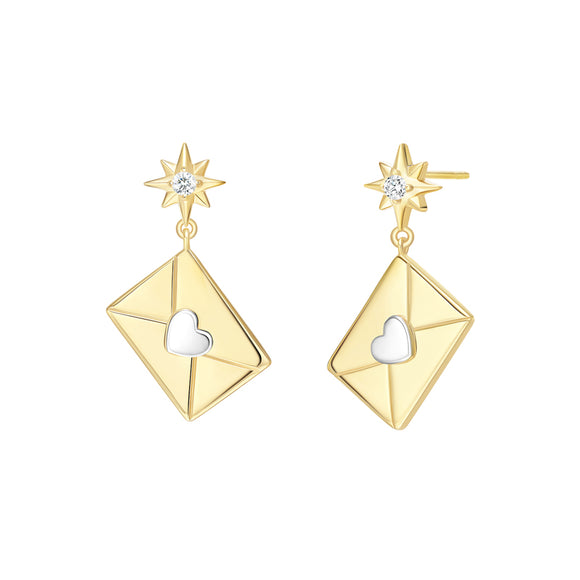 Seven Season Bright Star Envelope Silver Drop Earrings HEFANG Jewelry