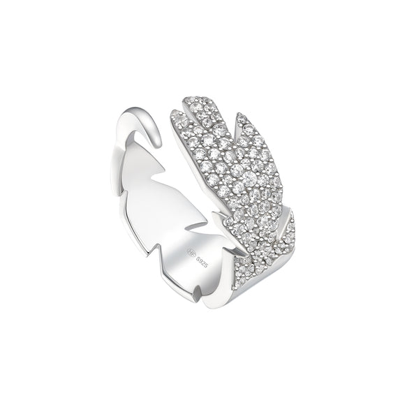 Seven Season Bright Star Quill Silver Open Ring HEFANG Jewelry