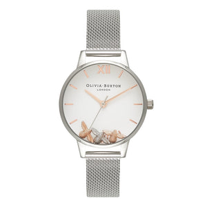 Seven Season Busy Bees Midi Dial Rose Gold and Silver Mesh Watch
