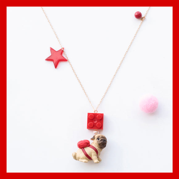 Seven Season Cute and Cuter Adorkable Pug and Lego Brick Pendant Necklace