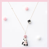 Seven Season Cute and Cuter Cuddly Panda with Napkin Pendant Necklace