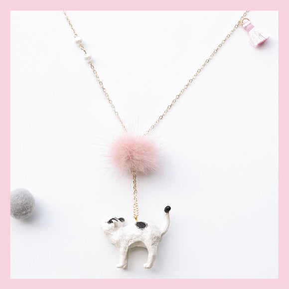 Seven Season Cute and Cuter Fluffiest Pussycat with Pompom Pendant Necklace