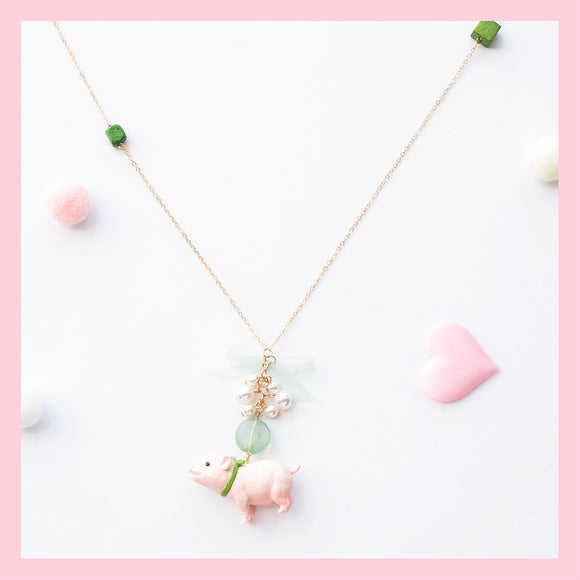 Seven Season Cute and Cuter Happy Piggy and Pearl Pendant Necklace