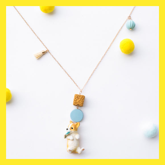 Seven Season Cute and Cuter Happy Pup Corgi with Sock Pendant Necklace