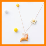 Seven Season Cute and Cuter Lucky Bunny and Bow Pendant Necklace