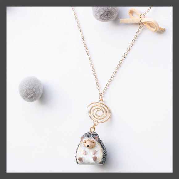 Seven Season Cute and Cuter Sleepy Hedgehog with Closing Eyes Pendant Necklace