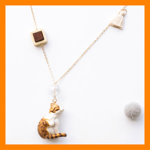 Seven Season Cute and Cuter Witty Tabby Cat Pendant Necklace