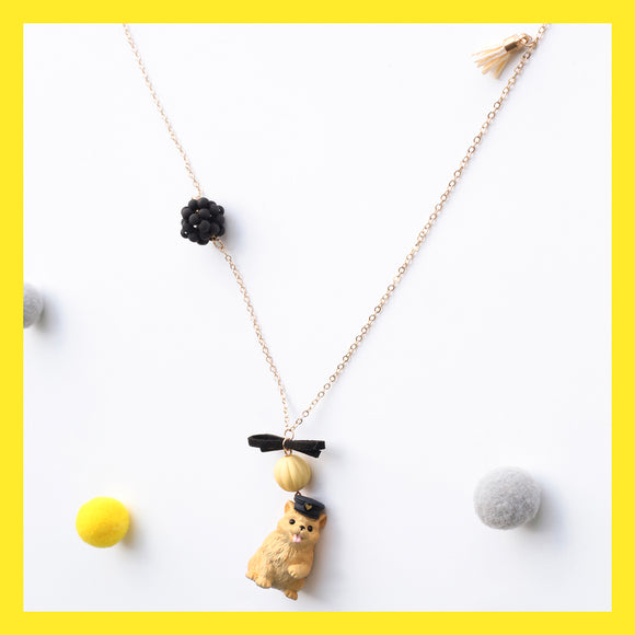 Seven Season Cute and Cuter Yellow Puppy with Cap Pendant Necklace
