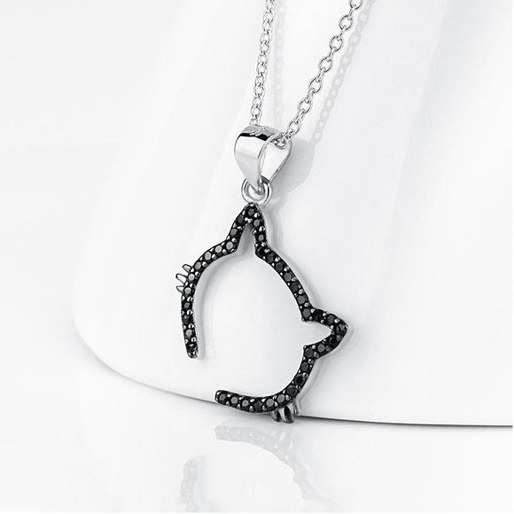 Seven Season Cutie Cat Black Cat Outline Pendant Necklace