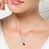 Seven Season Cutie Cat Enhanced Black Diamond Accent Loving Cat Pendant Necklace