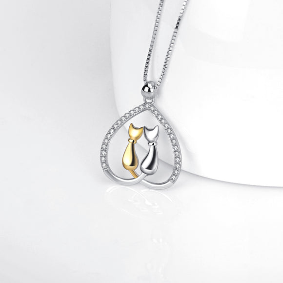Seven Season Cutie Cat Golden and Silvery Two Cats Heart Pendant Necklace
