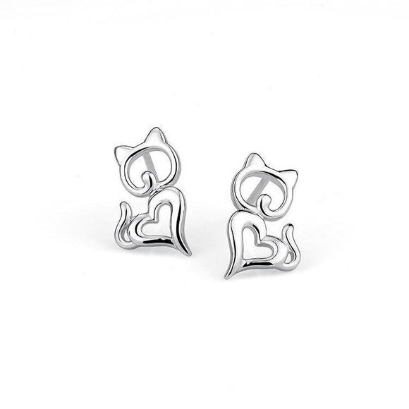 Seven Season Cutie Cat Heart Shaped Stud Earrings