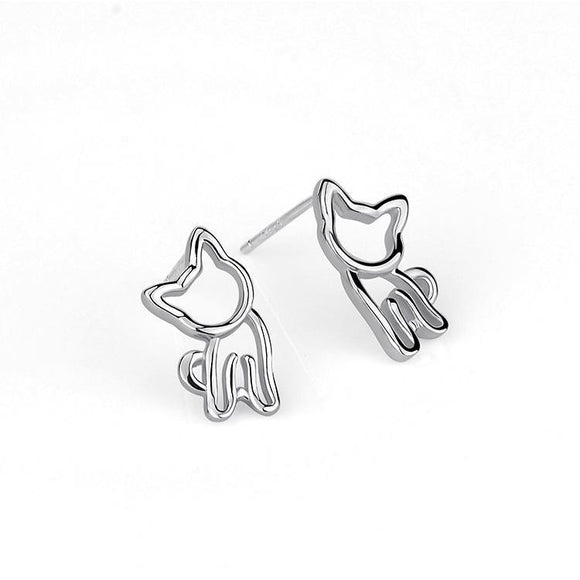 Seven Season Cutie Cat Kitty with Head Tilted Stud Earrings
