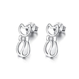 Seven Season Cutie Cat Kitty with Bow Tie Stud Earrings