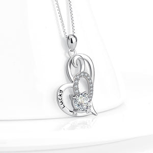 Seven Season Cutie Cat Lucky Kitty in an Open Heart Pendant Necklace