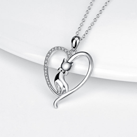 Seven Season Cutie Cat Sitting Kitty with Bow Tie Heart Pendant Necklace