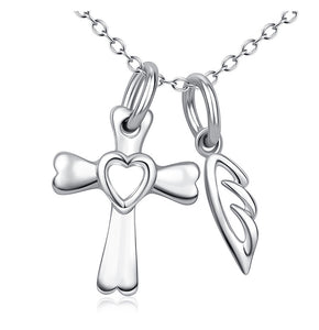 Seven Season Dog Heaven Dog Bone Cross and Wing Pendant Necklace