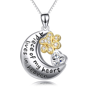 Seven Season Dog Heaven Paws Prints in Heaven Pendant Necklace