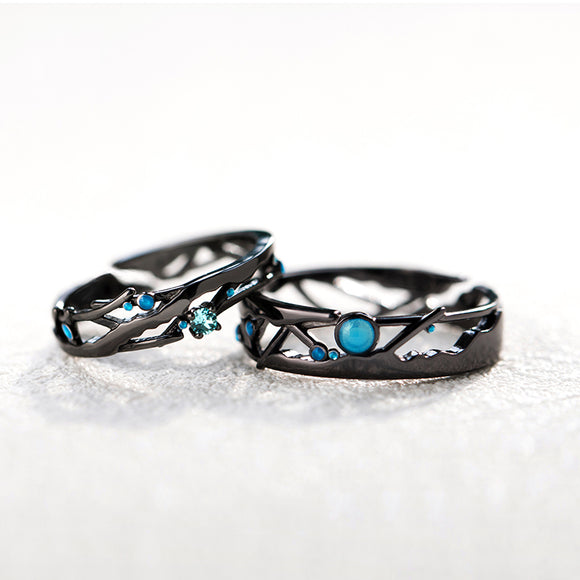 Seven Season Encounter Beneath the Stars Silver Couple Rings