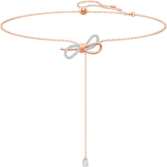 Seven Season Lifelong Bow White Mixed Plating Y Necklace Swarovski
