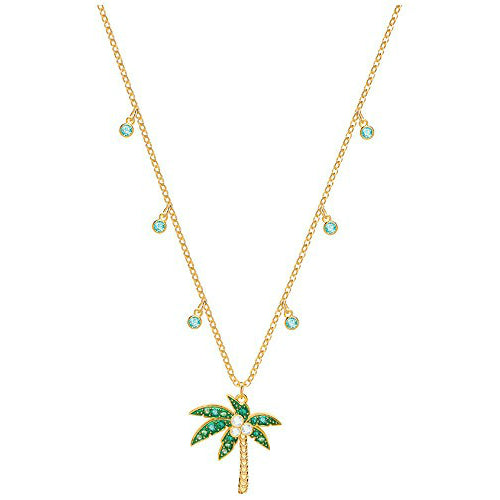 Seven Season Lime Palm Tree Multi-Colored Gold Plating Necklace Swarovski