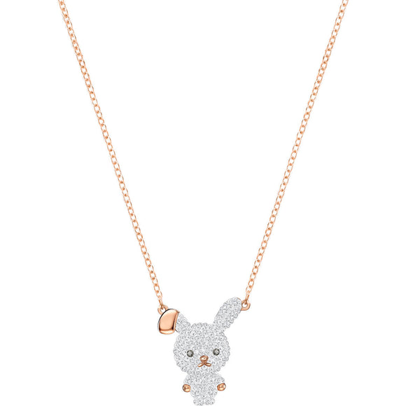 Seven Season Little Bunny Multi-Colored Rose Gold Plating Pendant Necklace Swarovski
