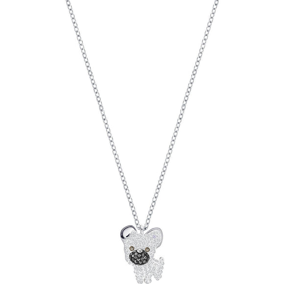 Seven Season Little Dog White Rhodium Plating Pendant Necklace Swarovski