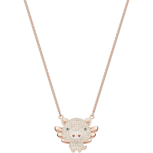 Seven Season Little Pig Multi-Colored Rose Gold Plating Pendant Necklace Swarovski
