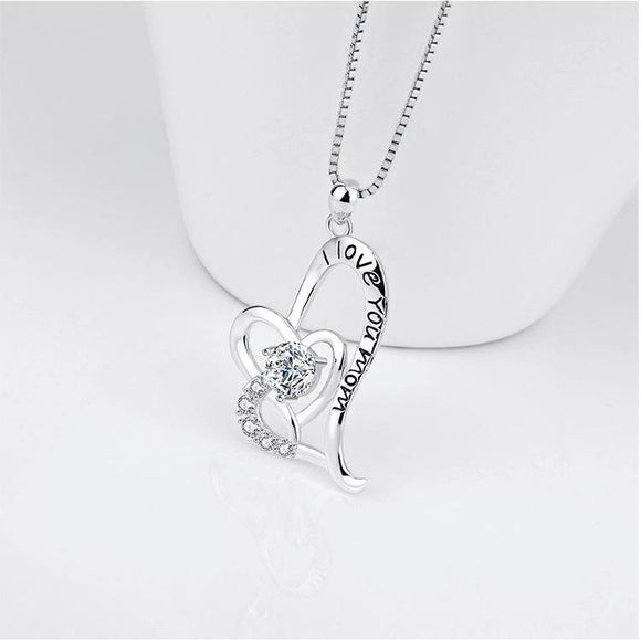 Seven Season Mom's Love I Love You Mom Heart Pendant Necklace