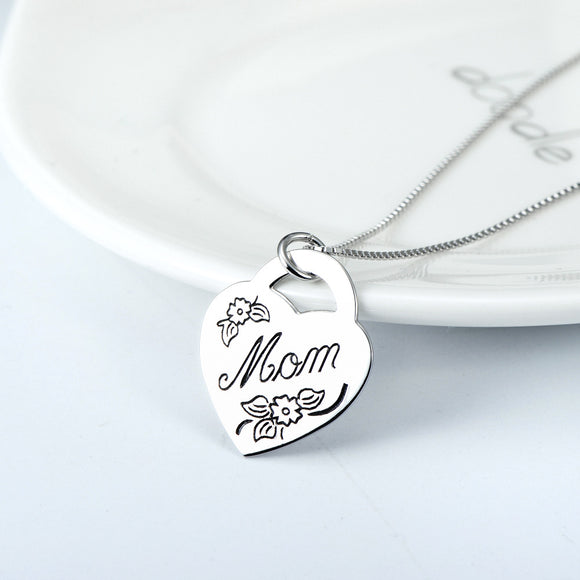 Seven Season Mom's Love Mom Heart Charm Pendant Necklace