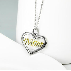 Seven Season Mom's Love Open Heart with Mom Two Tone Pendant Necklace