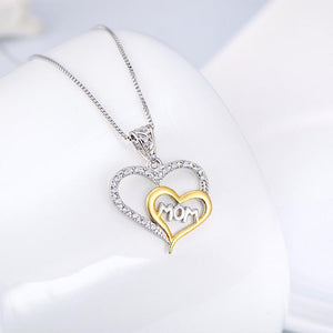 Seven Season Mom's Love Two Hearts Embracing Mom Pendant Necklace