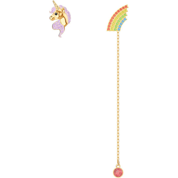 Seven Season Out of this World Unicorn Multi-Colored Gold Plating Pierced Earrings Swarovski