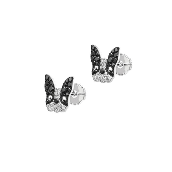 Seven Season Puppy Wang Wang Petite Pierre French Bulldog Stud Earrings