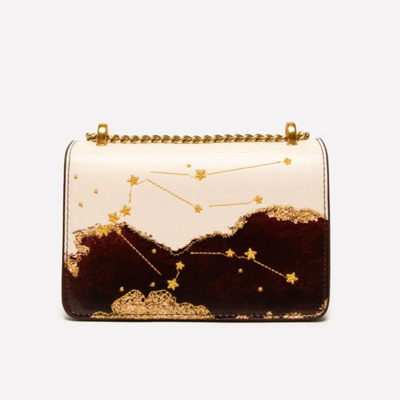 Seven Season Selection Zodiac Aquarius Embroidery Crossbody Bag