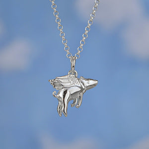 Seven Season Silver Flying Pig Pendant Necklace