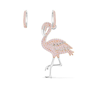 Seven Season Silver Pink Flamingo Asymmetric Earrings apm Monaco