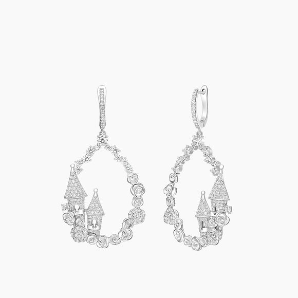 Seven Season Sleeping Castle Hoop Drop Earrings HEFANG Jewelry