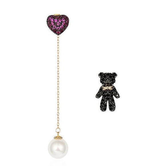 Seven Season Teddy Bear and Heart Earrings