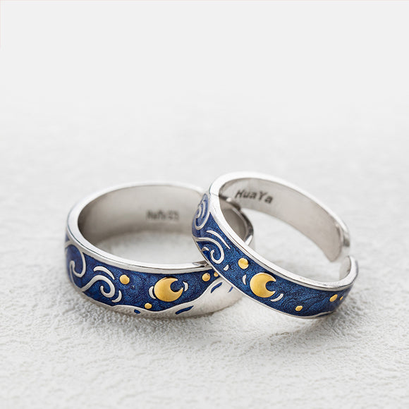 Seven Season Van Gogh Starry Night Silver Couple Rings