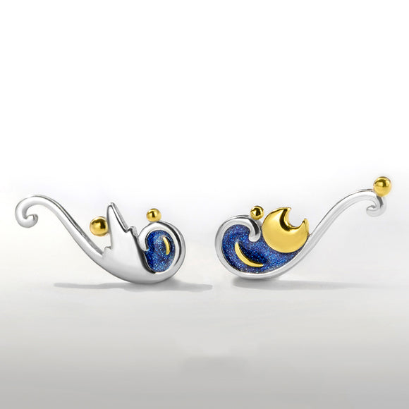Seven Season Van Gogh Starry Night Silver Stud Earrings