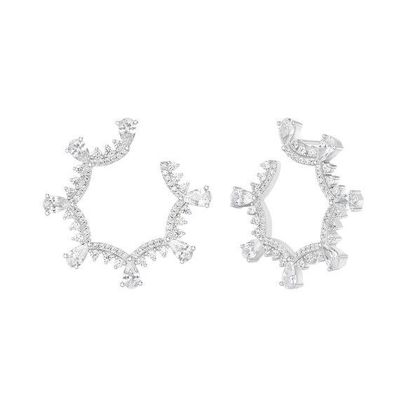 Seven Season Wedding Classical Lace Silver Scalloped Stud Earrings HEFANG Jewelry
